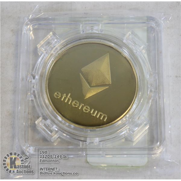 GOLD PLATED ETHEREUM COIN IN ROTATING CASE 40MM GOLD PLATED COIN. A MUST HAVE FOR CRYPTO CURRENCY EN