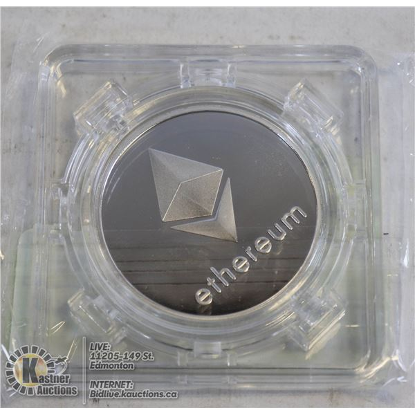 SILVER PLATED ETHEREUM COIN IN ROTATING CASE 40MM  SILVER PLATED COIN. A MUST HAVE FOR CRYPTO CURREN