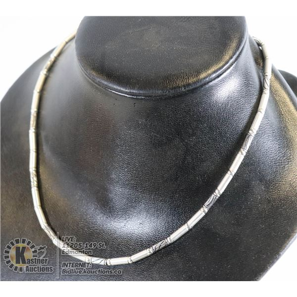 """TURKISH JEWELRY 925 SILVER NECKLACE, 17"""" LONG, UNIQUE CYCLINDER LINK DESIGN"""
