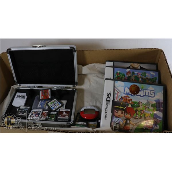 BOX WITH 23 NINTENDO DS GAMES AND METAL CARRY CASE INCLUDES - POKEMON SOUL SILVER, POKEMON BLACK, SU