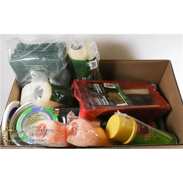 LARGE BOX OF NEW PAINTING SUPPLIES AND TOOLS - NEW PAINTER'S TAPE, NEW PESTBLOCK GREAT STUFF FOAM, N