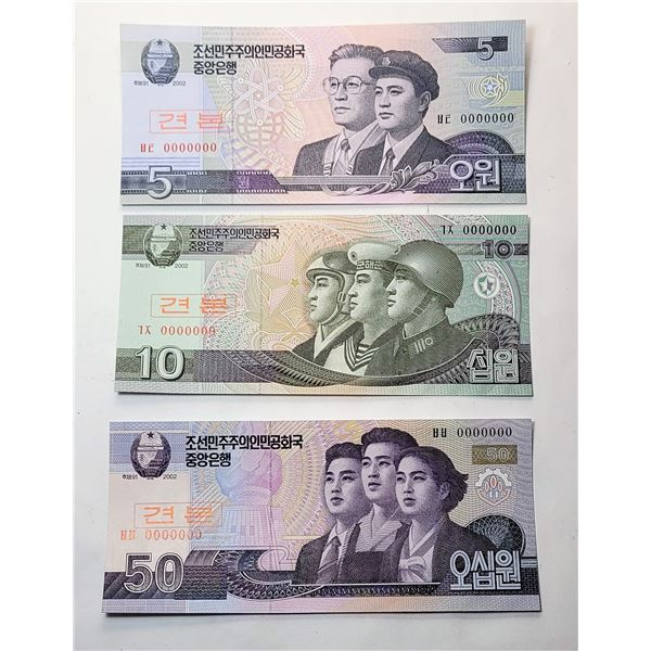 14)  LOT OF 3 NORTH KOREA SPECIMEN 3, 5 & 10 WON BANKNOTES.