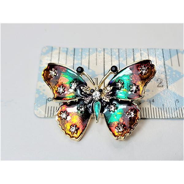 13) ENAMELLED AND CRYSTAL BUTTERFLY BROOCH.
