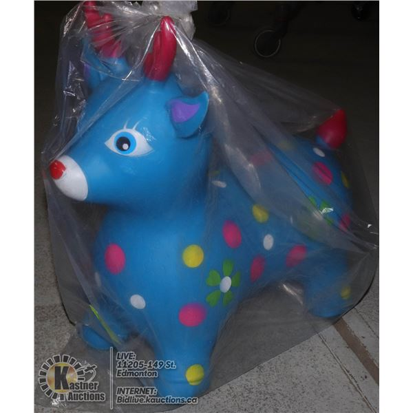 TODDLER BLUE BOUNCY TOY SHAPED LIKE AN ANIMAL WITH POKA DOTS
