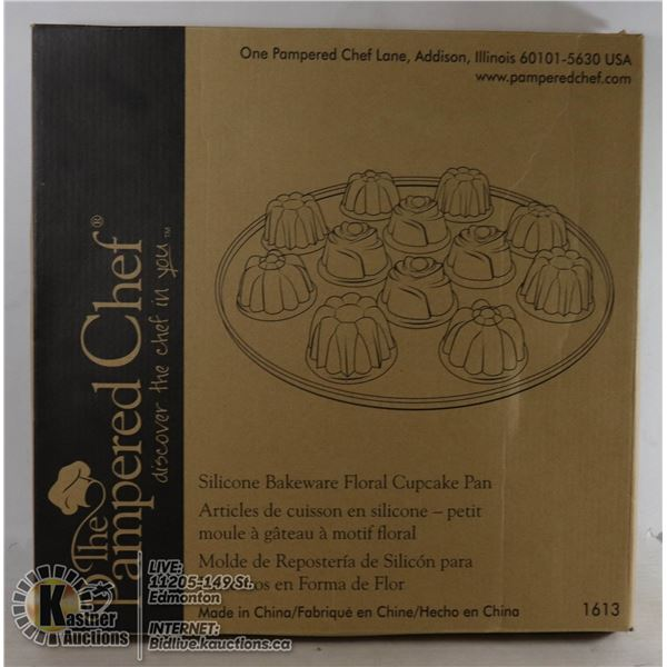 PAMPERED CHEF FLORAL MUFFIN PAN SILICONE WARE, MAKES 12 FANCY FLORAL CUPCAKES