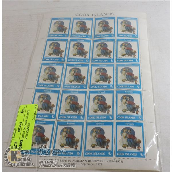 BLOCK SHEET OF COOK ISLANDS NORMAN ROCKWELL STAMPS.