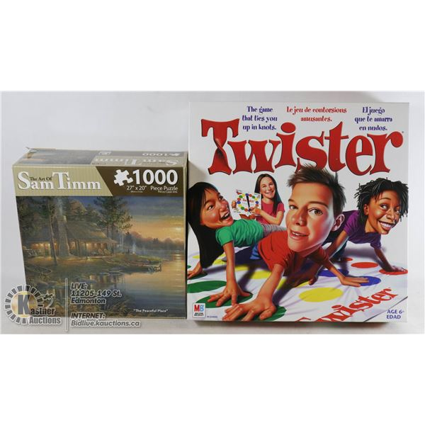 ART OF SAM TIMM 1000 PC PUZZLE & VINTAGE TWISTER GAME.