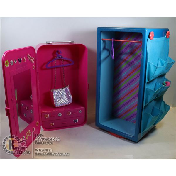 MY LIFE DOLL COLLECTION - PAIR OF CLOSETS WITH CLOTHING
