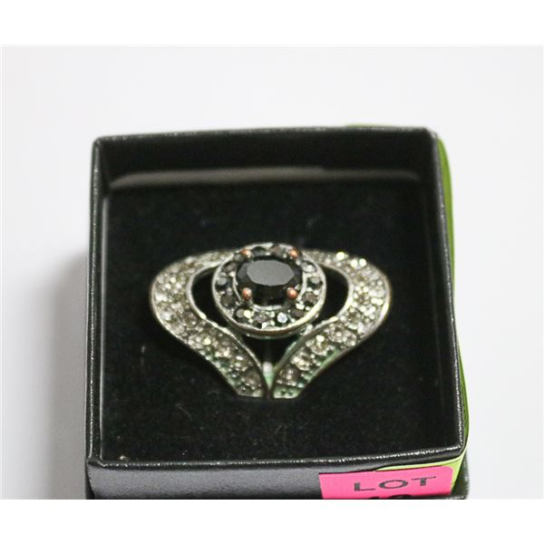 LARGE BLACK DIAMOND DINNER RING
