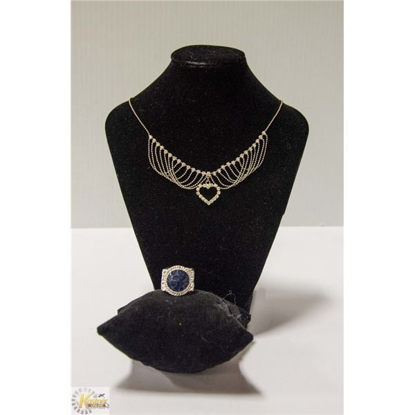 SILVER RHINESTONE HEART NECKLACE WITH RING