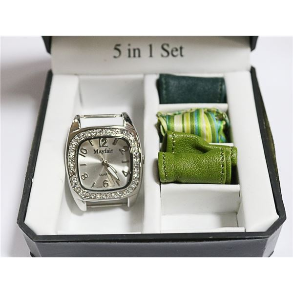 MAYFAIR LADIES WATCH WITH CHANGEABLE STRAPS