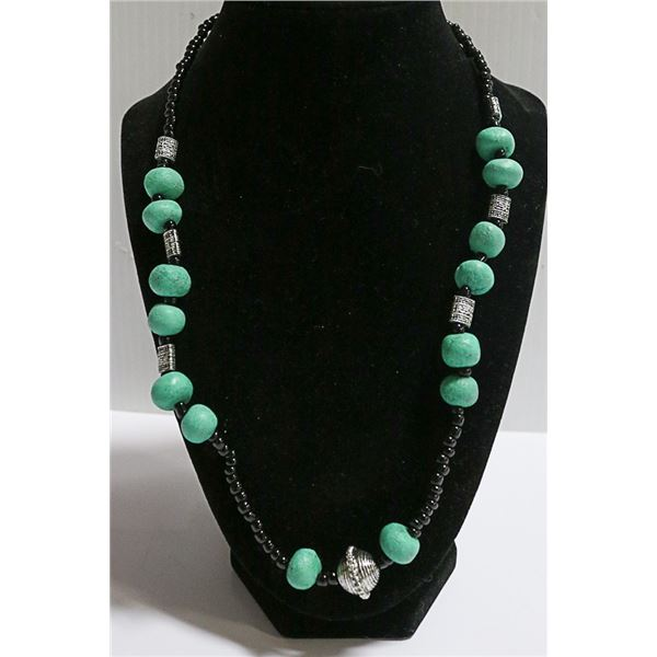 TURQOUISE & BLACK BEAD LONG NECKLACE