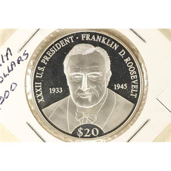 2000 LIBERIA FRANKLIN D. ROOSEVELT SILVER PROOF