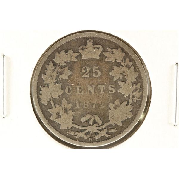 1872-H CANADA SILVER 25 CENTS