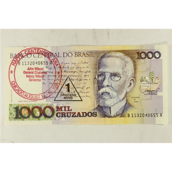 1991 ANA PROMOTIONAL STAMP ON BRAZIL 1000