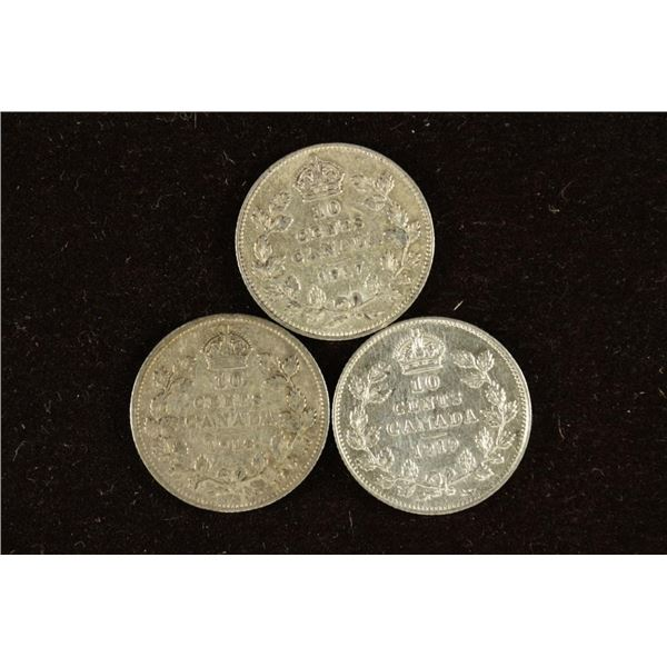 1917, 1918 AND 1919 CANADA SILVER 10 CENTS