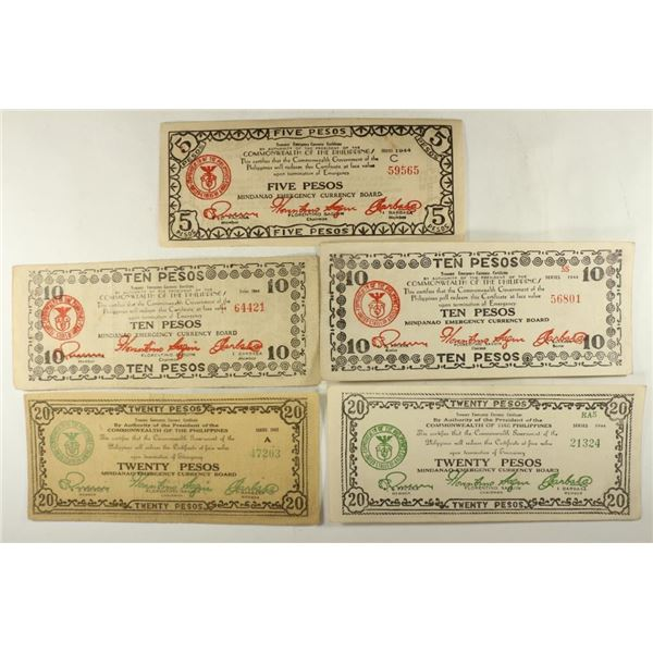 5 PIECES OF WWII PHILIPPINES EMERGENCY CURRENCY