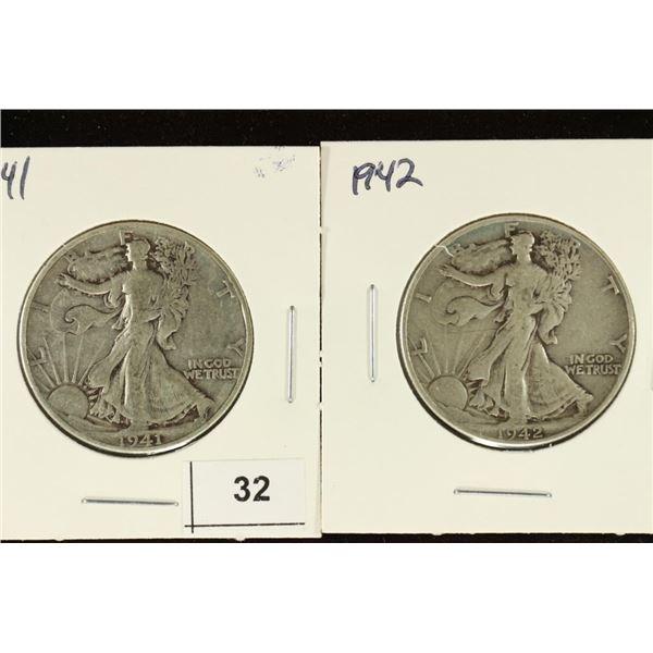 1941 & 1942 WALKING LIBERTY HALF DOLLARS