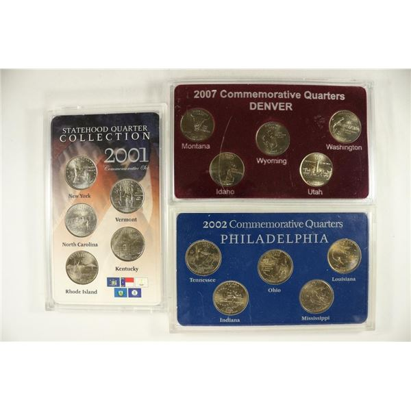 3-STATE QUARTER SETS, 2001-P, 2002-P AND 2007-P