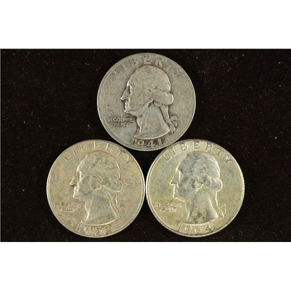 1941, 1952 & 1964 WASHINGTON SILVER QUARTERS