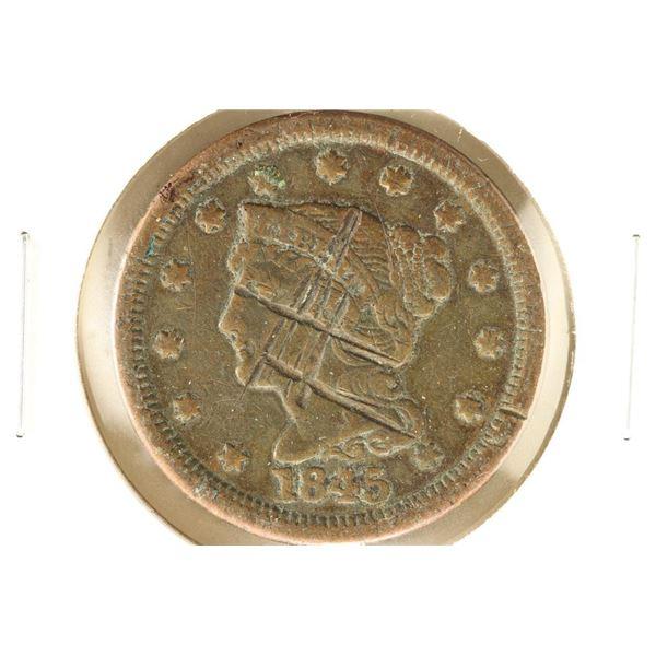 1845 US LARGE CENT MARKS ON OBVERSE
