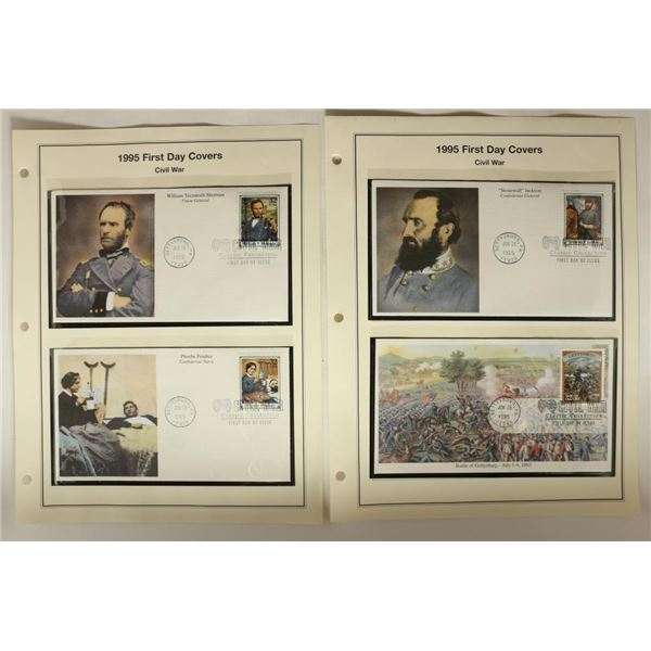 4 ASSORTED 1995 CIVIL WAR 1ST DAY COVERS