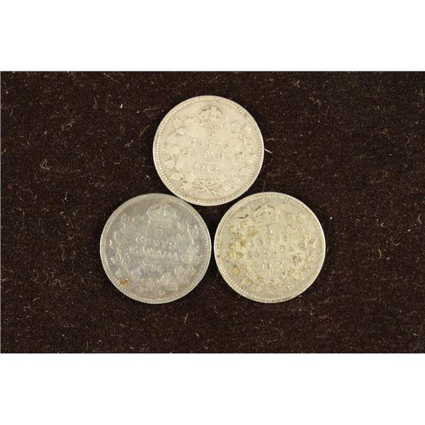 1912, 1914 & 1917 CANADA SILVER 5 CENTS