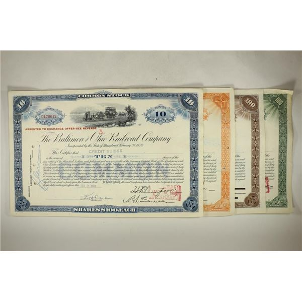 4 VINTAGE STOCK CERTIFICATES THE BALTIMORE AND