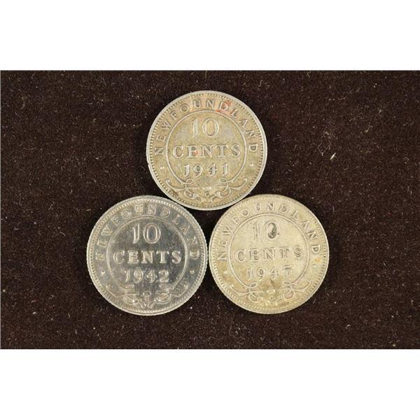 1941-C, 1942-C & 1945-C NEWFOUNDLAND SILVER 10