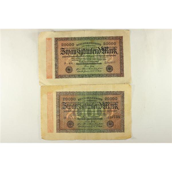2-GERMAN 1923-20,000 MARK BANK NOTES