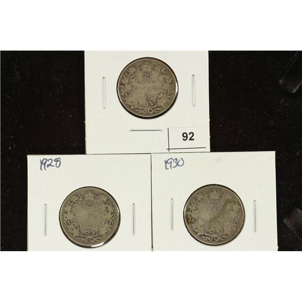 1917, 1928 & 1930 CANADA SILVER 25 CENTS