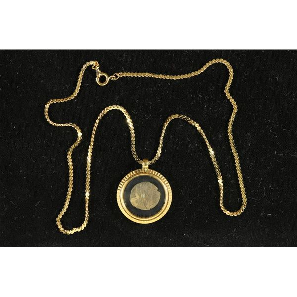 250-390 A.D. ANCIENT COIN IN GOLD FILLED NECKLACE