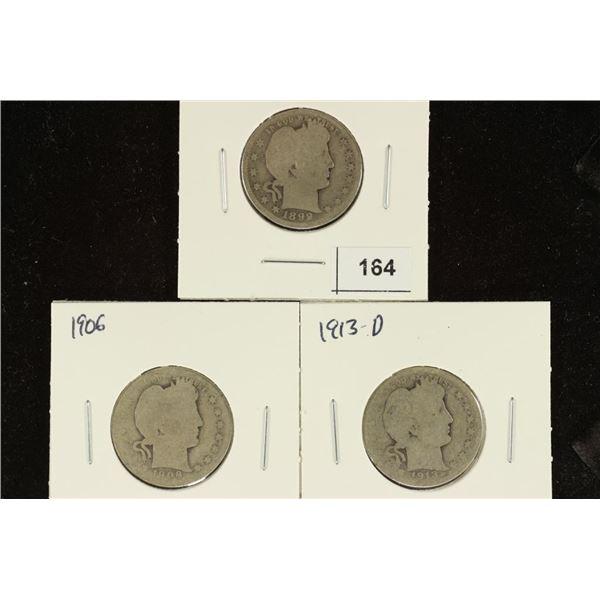 1899, 1906 & 1913-D BARBER QUARTERS