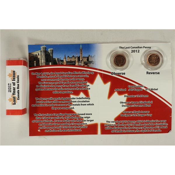 2012 THE LAST CANADIAN PENNY SET INCLUDES