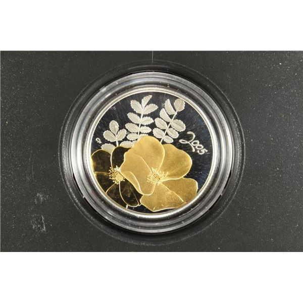 2005 CANADA GOLDEN ROSE STERLING SILVER 50 CENT