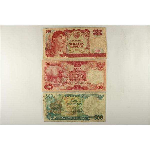 INDONESIA 1968-100 RUPIAH, 1977-100 RUPIAH AND