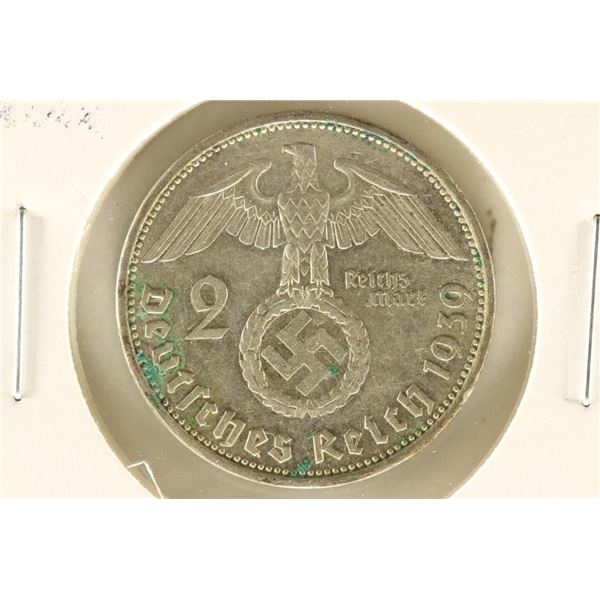 1939 GERMAN SILVER 2 MARKS WITH SWASTIKA