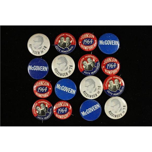 16 VINTAGE POLITICAL BUTTONS / PIN BACKS