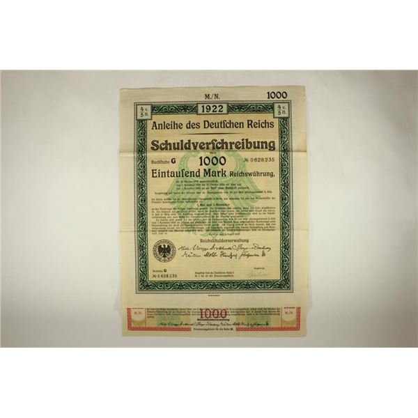 1922 GERMAN 1000 MARK BOND WITH ALL PAYMENT