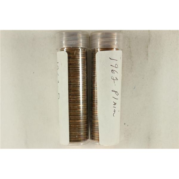 2-50 CENT ROLLS OF BRILLIANT UNC LINCOLN CENTS