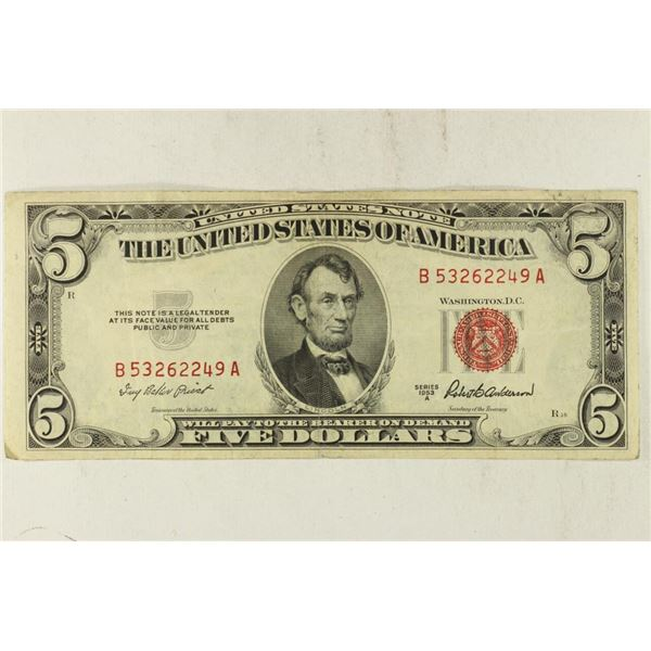 1953-A $5 US RED SEAL NOTE