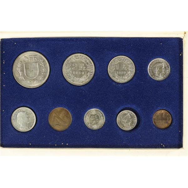 1967-69 SWITZERLAND MINT SET 9 COINS