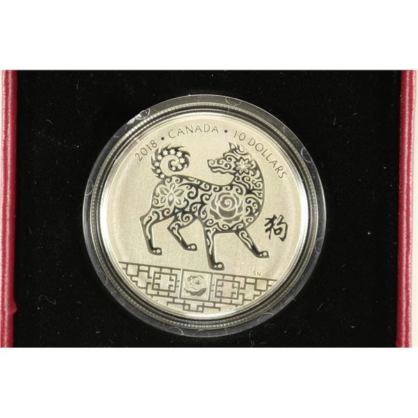 2018 CANADA YEAR OF THE DOG $10 FINE SILVER COIN