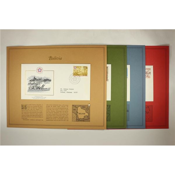 4 ASSORTED 1976 1ST DAY COVERS BOLIVIA, CYPRUS,