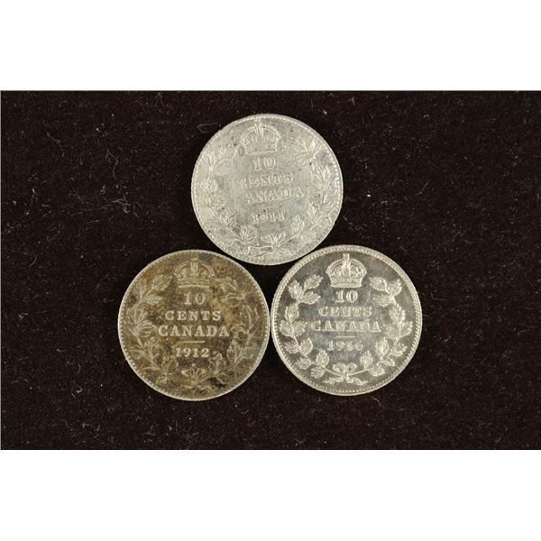 1911, 1912 AND 1916 CANADA SILVER 10 CENTS
