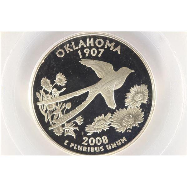 2008-S SILVER OKLAHOMA QUARTER PCGS PR69 DCAM