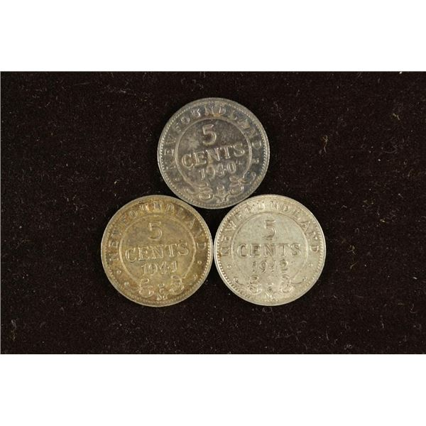 1940-C, 1941-C & 1942-C NEWFOUNDLAND SILVER 5