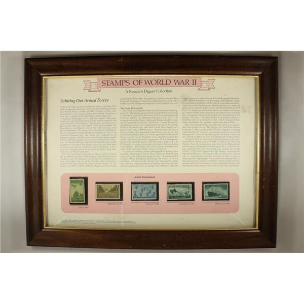 12 1/4'' X 16 1/4'' GLASS FRAMED STAMPS OF WWII