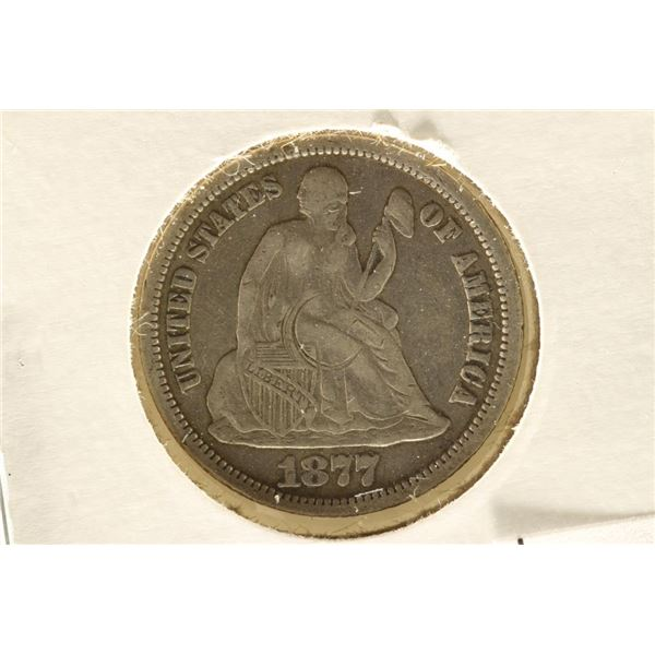 1877-CC SEATED LIBERTY DIME EXTRA FINE WITH MARK
