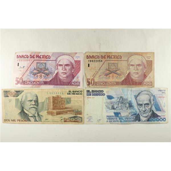 4 PIECES OF MEXICO CURRENCY 1994-50 PESOS,